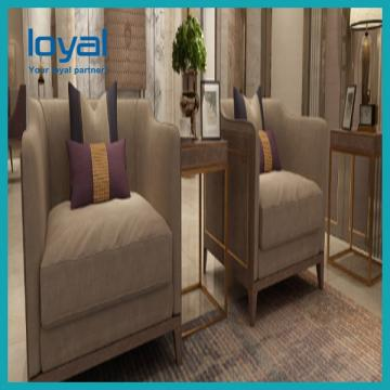 Customized Hotel Lobby Furniture High Back Sofa Chair Wing Back
